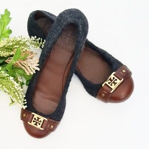 Tory Burch Wool and Leather Flats